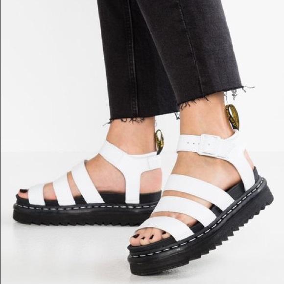 12410189 Dr. Martens Shoes | Dr Martens White Leather Blaire Strappy Sandal ...